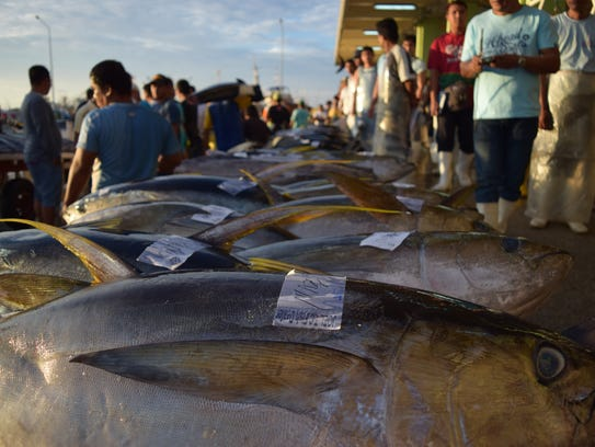 Tuna being sold in the rural Philippines.
