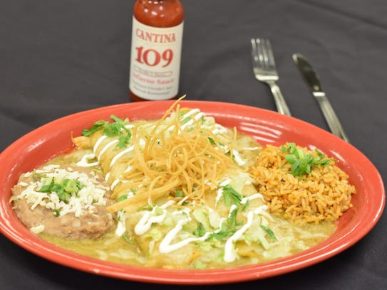 Enchiladas verde at Cantina 109 in Gulf Coast Town