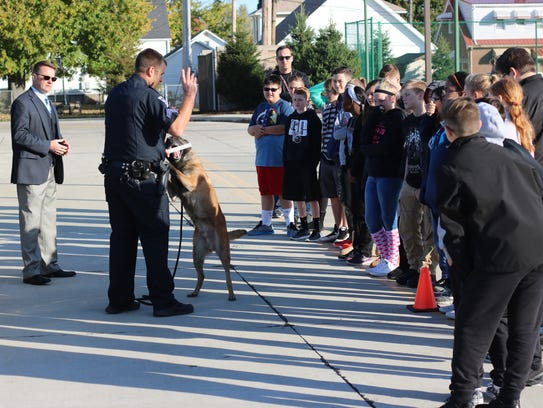 Officer Josh Nelson and his K-9 partner Spike, of the
