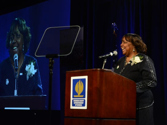 Riverside County Superintendent Judy White gives the