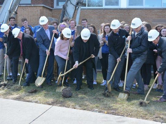 (from left) Jon Brzeski (CMH Campus Minister), Shawn