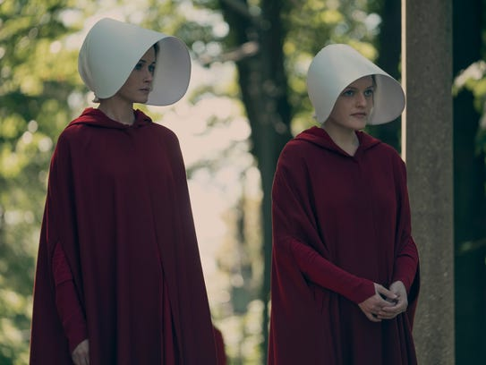 Alexis Bledel and Elisabeth Moss in 'The Handmaid's