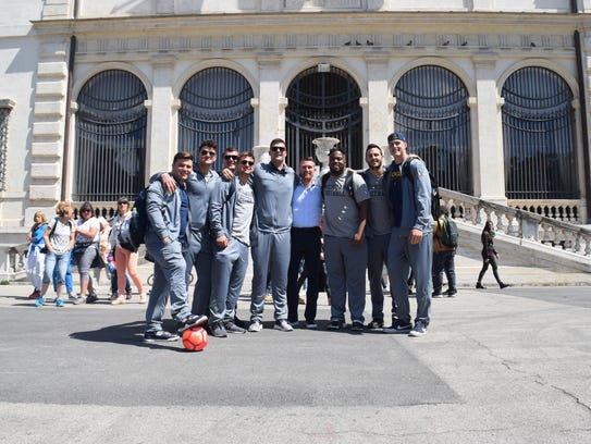 The Michigan football team in Rome last spring.