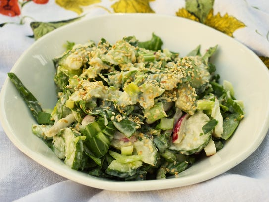 Baby bok choy, radishes and sesame seeds add crunch