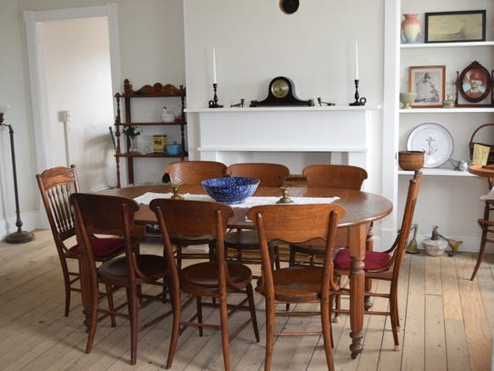 The dining room inside East Point Lighthouse has been