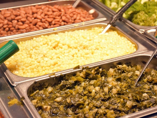 Beans, corn, collard greens and other vegetables makes