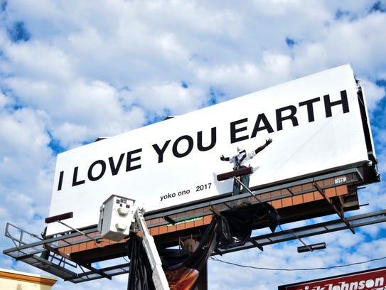 "Yoko Ono's billboard for the ""FluZUsic/FLUXUS MUSIC"""