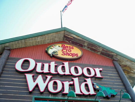 In this Sept. 19, 2017 photo, the Bass Pro Shops logo