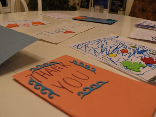 The Dooney sisters helped write these 'thank you' cards