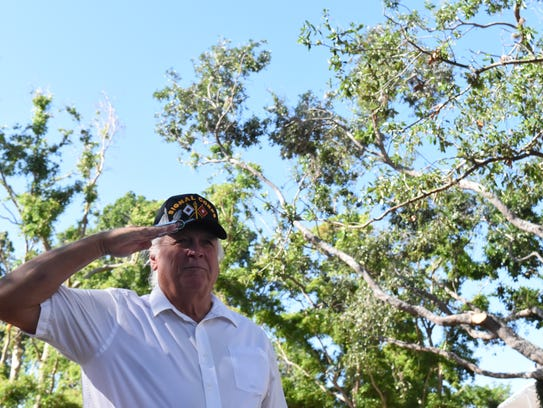 U.S. veteran Tim Remmer salutes the flag during the