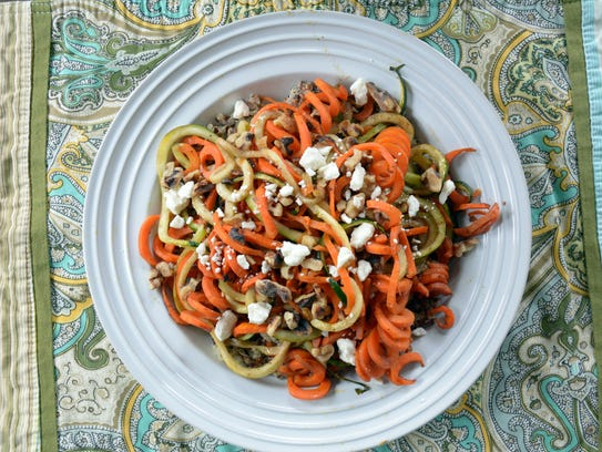 Roasted spiralized carrots and zucchini combine in