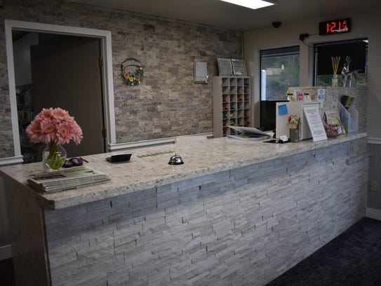 The remodeled front office at the Belfair Motel welcomes