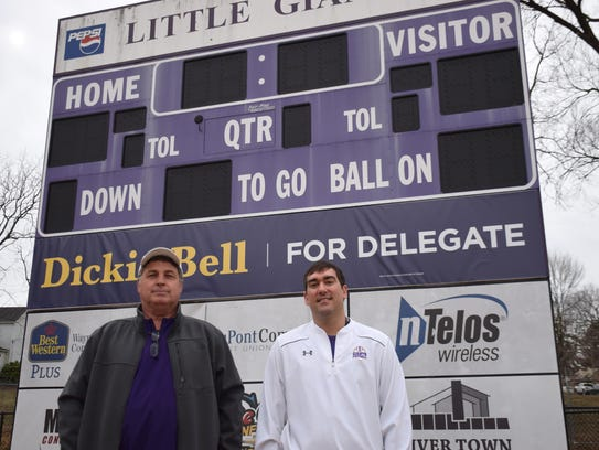 Shawn Moran, right, stands with Waynesboro Athletic