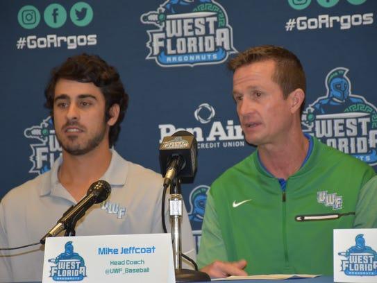 UWF baseball coach Mike Jeffcoat (center) discusses
