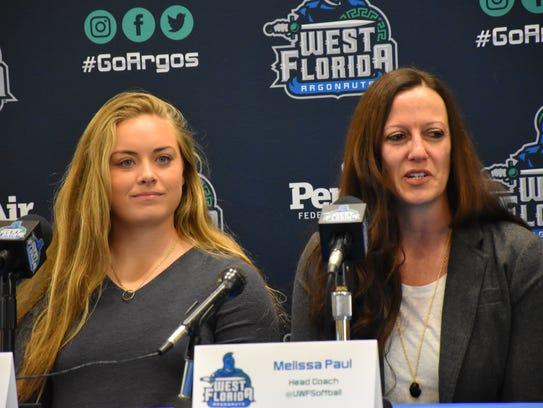 UWF junior Tori Perkins and head coach Melissa Paul
