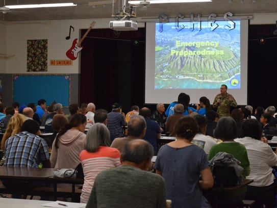 Hawaii residents attend an event to address concerns about reactions to the Hawaii missile false alert.