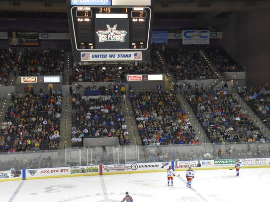 The Ice Flyers attracted a sellout crowd of 8,049 March