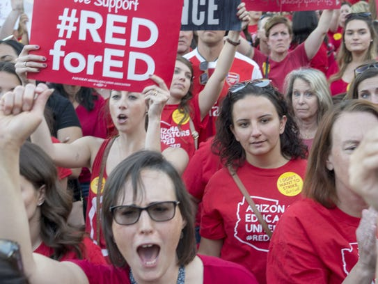 Teachers and their supporters gathered at the Arizona