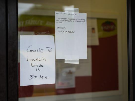 Fazoli's on 7210 N. Davis Highway closed its doors