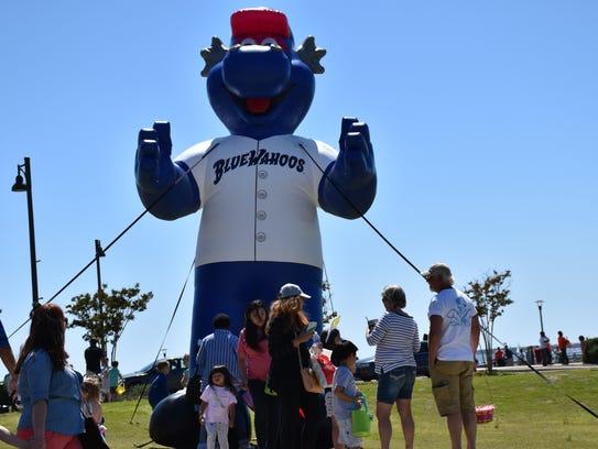 "The Blue Wahoos new, giant,  inflatable, ""Kazoo"" mascot"