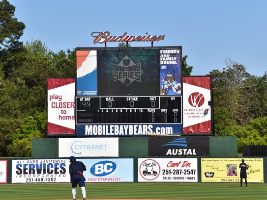 The scoreboard flashes the Bay To Bay Series which