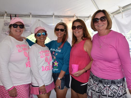 Tournament founder Lori Perkins (far left) with fellow directors of the Pink Ribbon Tennis Tournament, now celebrating its 16th year. L-R, Debbie Cook, Prebble Baker, Gretchen Miller, Suzi Emerson.