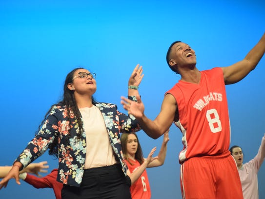 """Brylee Serret (left) portrays Taylor McKessie and Fred Jones Jr., portrays Chad Danforth in Lagniappe Theatre Company' production of Disney's """"High School Musical"""" set for Thursday (May 3) through Sunday. Showtimes are 7 p.m. Thursday through Saturday and 2;30 p.m. Sunday. Tickets are $18 for adults, $16 for seniors and $13 for students and children. VIP seating is $20. Tickets can be purchased by going tickets.vendini.com.The musical is based on the Disney Channel's movie """"High School Musical"""" which follows two teenagers, Troy portrayed by Christian Salazar, a jock, and Gabrielle, portrayed by Abigail Rivers, a pretty smart nerd, who audition for a high school musical and get a callback. Social cliques at school then try to break the two up. Troy has to think about the basketball championships while Gabrielle has to think about the academic decathlon."""