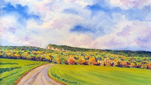 """""""Lenape Lane,"""" a watercolor by Katherine Gray, is part of her exhibit at Ulster Savings Bank in New Paltz through Nov. 10."""