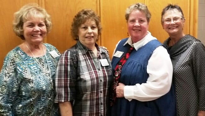 Recipient Cathy Roshon, from left, recipient Carolyn Youngblood, recipient, Carla Johnson and presenter Carolyn Densmore. Not shown are presenters Stephanie Reubin and Mary Margaret Pearson.
