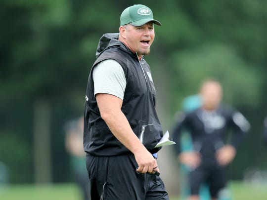 Jets Special Teams Coordinator, Brant Boyer, is shown during practice, Wednesday, June 13, 2018.