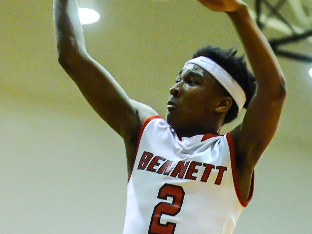 Bennett's Jorden Duffy drives to the basket.