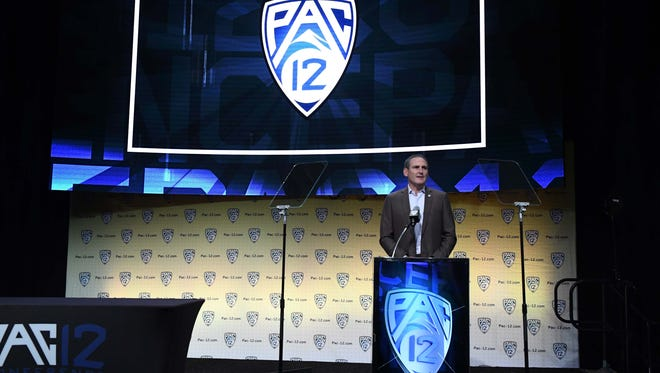 Pac-12 commissioner Larry Scott speaks during Pac-12 Media Day at Hollywood & Highland on July 25, 2018.