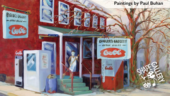 A postcard for the Paul Buhan show at SHAPE Gallery shows the artist's depiction of Bigler's Grocery in Shippensburg.