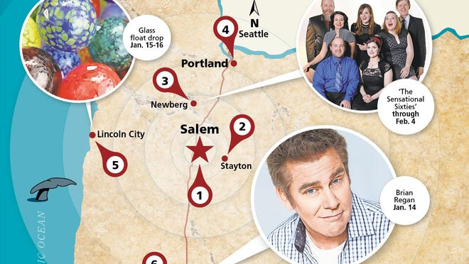 Check out special glass drop for MLK Day on coast and Brian Regan in Eugene.