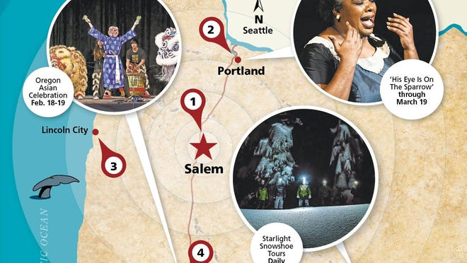 Willing to head out of Salem? Here's what's going on from Portland to Eugene, Bend to coast Feb. 17-20.