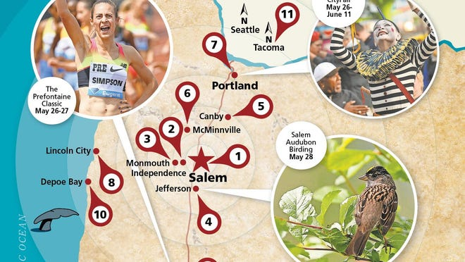 Memorial Day weekend brings the Rose Festival and country stars in Portland and Prefontaine Classic in Eugene.