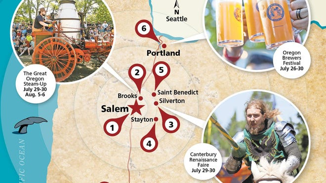 July 28-30 brings The Great Oregon Steam-Up, Neil Diamond, Oregon Brewers Festival and Canterbury Renaissance Faire to Willamette Valley.