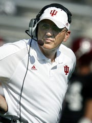 Former Indiana University football coach Terry Hoeppner watches the action during the game in 2006. Hoeppner died in 2007.