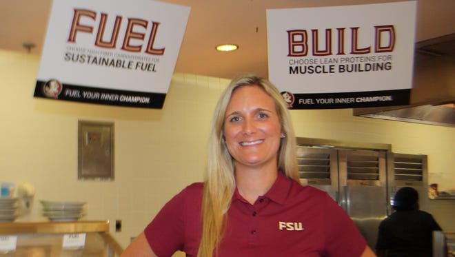 Katy Meassick is FSU's new director of sports nutrition. She's responsible for coming up with healthy meals and snacks served to all of the 550-600 student athletes, including the football team.