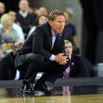 HOUSTON, TX - MARCH 29: Head Coach Mark Few of the Gonzaga Bulldogs looks on against the Duke Blue Devils during the South Regional Final of the 2015 NCAA Men's Basketball Tournament at NRG Stadium on March 29, 2015 in Houston, Texas. Duke won 66-52.