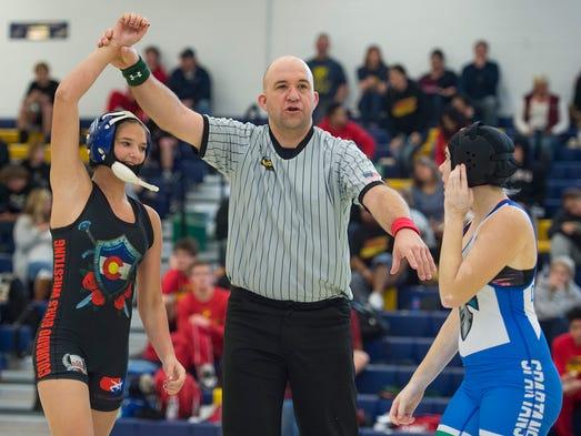 Buena Vista High School wrestler Shiyla Diamond wins