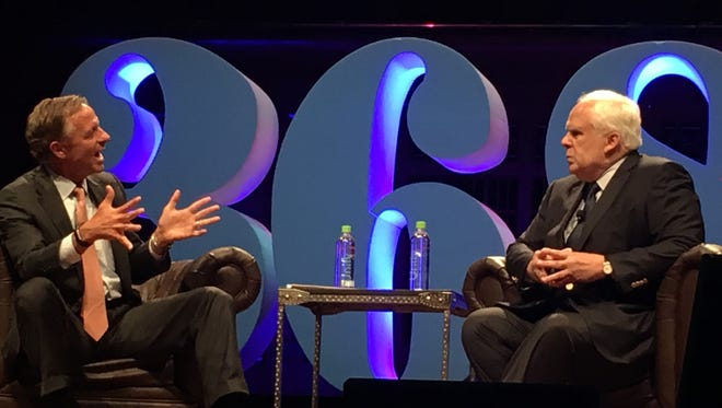 """Gov. Bill Haslam, left, hosted a """"fireside chat"""" with FedEx CEO Fred Smith at the 36/86 Tech conference in Nashville on Tuesday, asking the man behind the $54billion Memphis-based company what brought him success and how he's maintained it."""