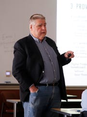 John Stigmon, president and CEO of the Economic Collaborative of Northern Arizona, talks about increasing broadband connectivity on the Navajo Nation during a presentation Tuesday at San Juan College in Farmington.