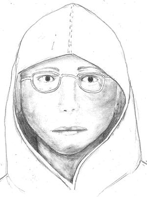 "The South Lake Tahoe Police Department released this composite sketch of a man who attempted to kidnap a woman Oct. 10. The man is described as light-skinned, about 5'6"" tall with a medium build, black wire-framed prescription glasses and a scar or injury above his right eye."
