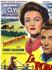 "A vintage French-language poster for the 1949 motion picture ""The Red Pony."" Lewis Milestone produced and directed this film for Republic Pictures in Technicolor, starring Myrna Loy, Robert Mitchum, and child actor Peter Miles. The music for the movie was composed by American great Aaron Copland. / Public Domain"