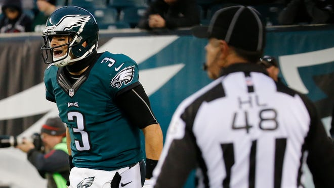 Philadelphia Eagles quarterback Mark Sanchez reacts after throwing an interception during the second half against the Tampa Bay Buccaneers on Sunday