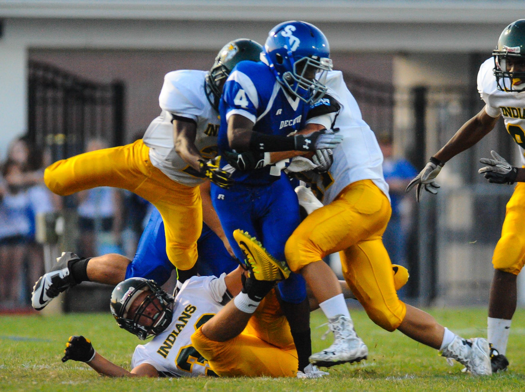 Stephen Decatur's Dontae Baines had a late touchdown in the Seahawks' 56-41 loss to Queen Anne's on Friday.