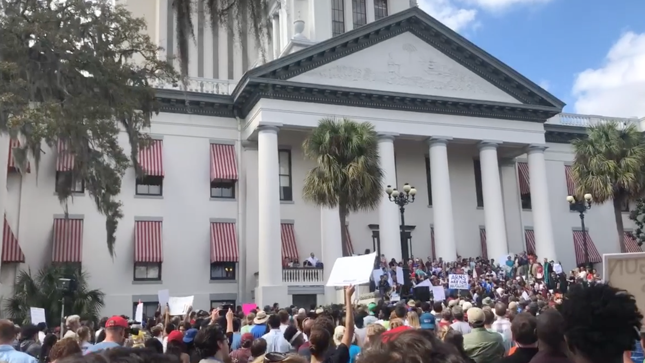Scenes from a rally Wednesday, February 21, 2018, at the Florida capital complex. Florida school shooting survivors from Parkland are in Tallassee to talk to state legislators.