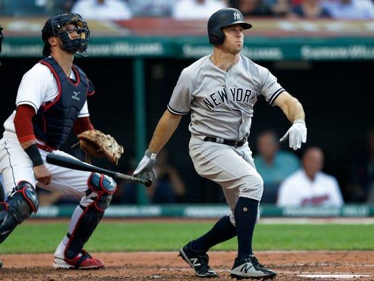 New York Yankees' Brett Gardner watches his two-run