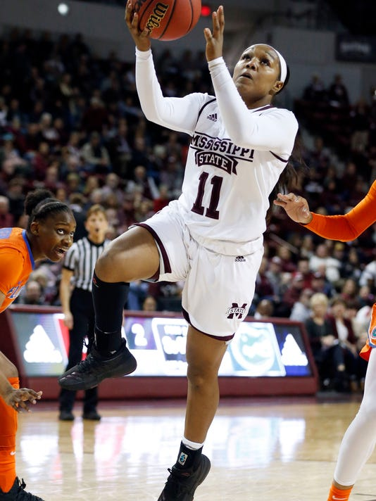 Mississippi State guard Roshunda Johnson (11) attempts a layup against Florida during the first half of the NCAA college basketball game in Starkville, Miss., Thursday, Jan. 25, 2018. (AP Photo/Rogelio V. Solis)
